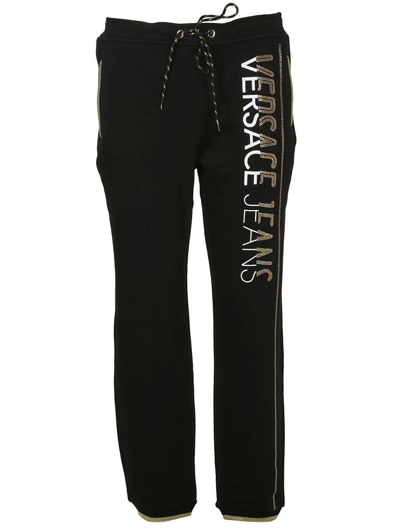 Versace Jeans Logo Embellished Track Pants - Black