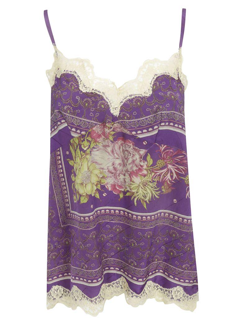Ibrigu Floral Print Laced Top - Fantasy2
