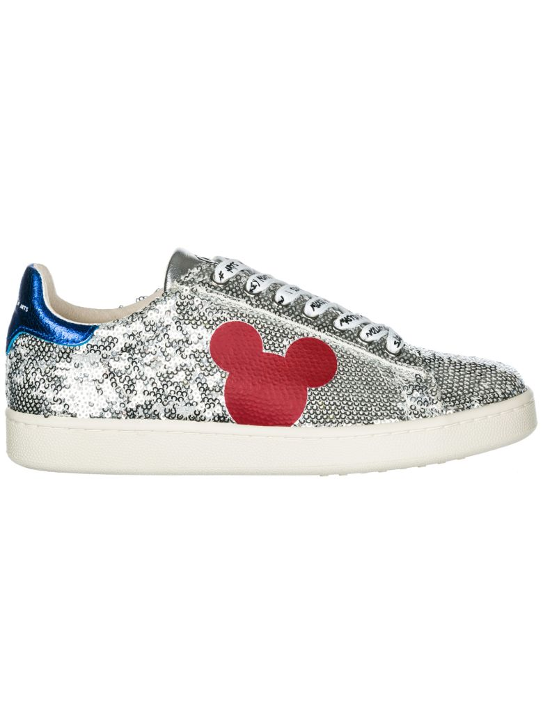 M.O.A. master of arts  Shoes Leather Trainers Sneakers Disney Mickey Mouse - Silver