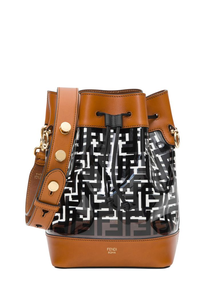 Fendi Mon Trésor Pvc And Leather Bucket Bag - Black