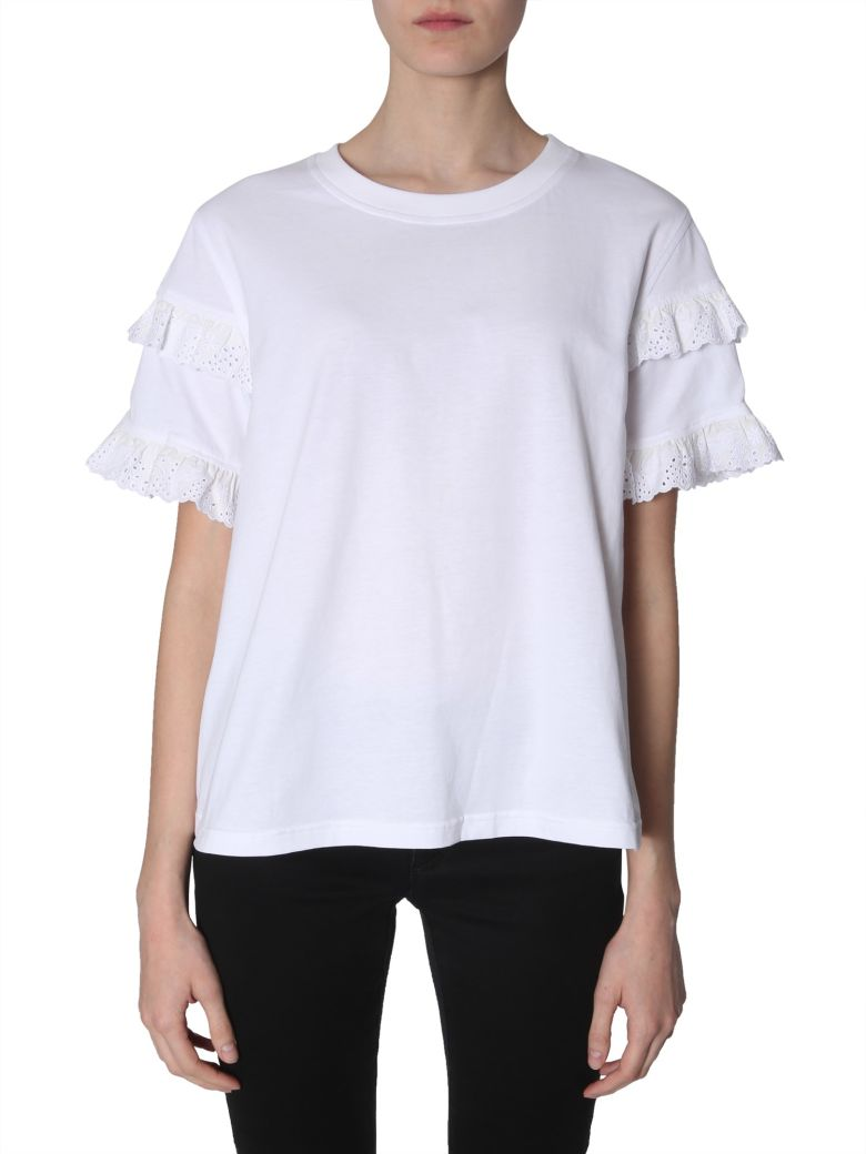 McQ Alexander McQueen Broderie-anglaise Ruffled-sleeve T-shirt - BIANCO