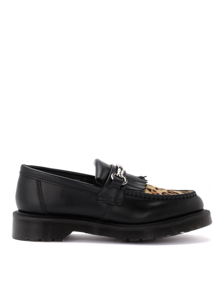 Dr. Martens Adrian Moccasin Shoe In Black Leather And Details In Leopard Calf - NERO