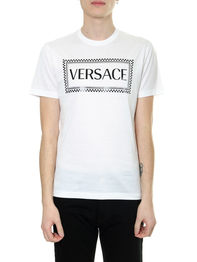 Versace White Eco Sustainable Cotton T-shirt With 90s Vintage Logo - White