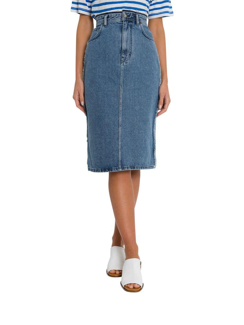 Acne Studios Denim Pencil Skirt With A Distressed Waistband - Denim