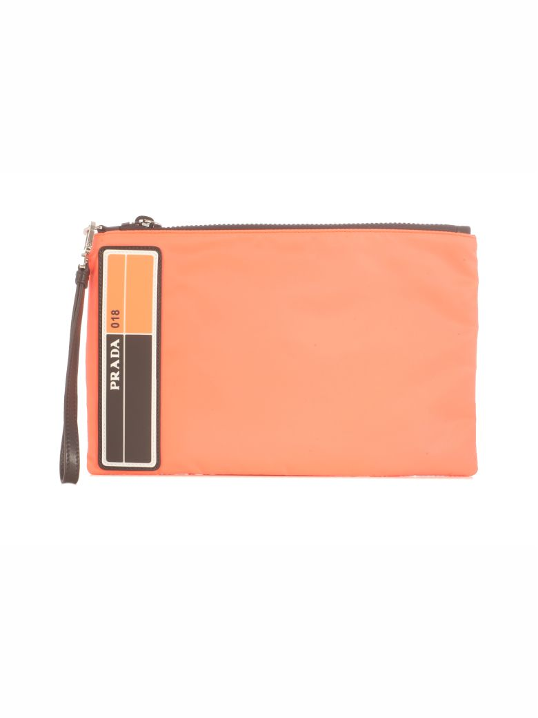 Prada New Logo Textile Clutch - F0xyb Orange Fluo Black