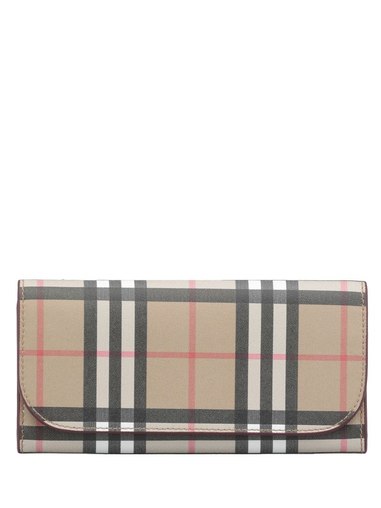 Burberry Heron Vintage Check Bonded Leather - CRIMSON