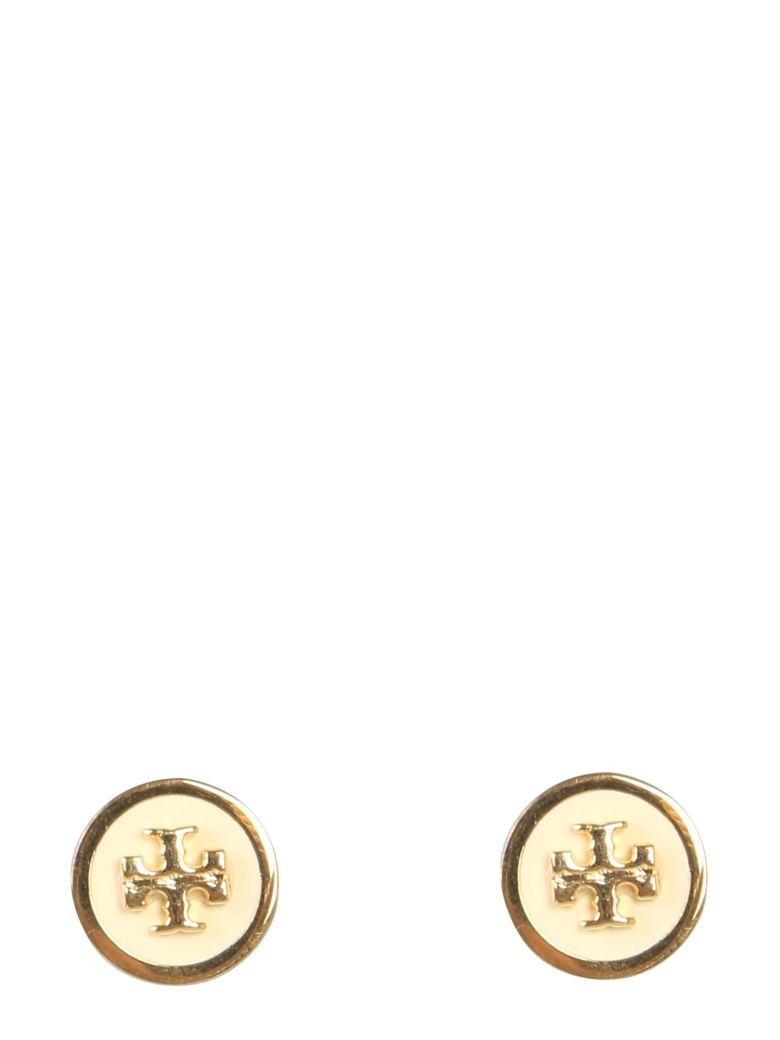 Tory Burch Stud Earrings With Lacquered Logo - BIANCO