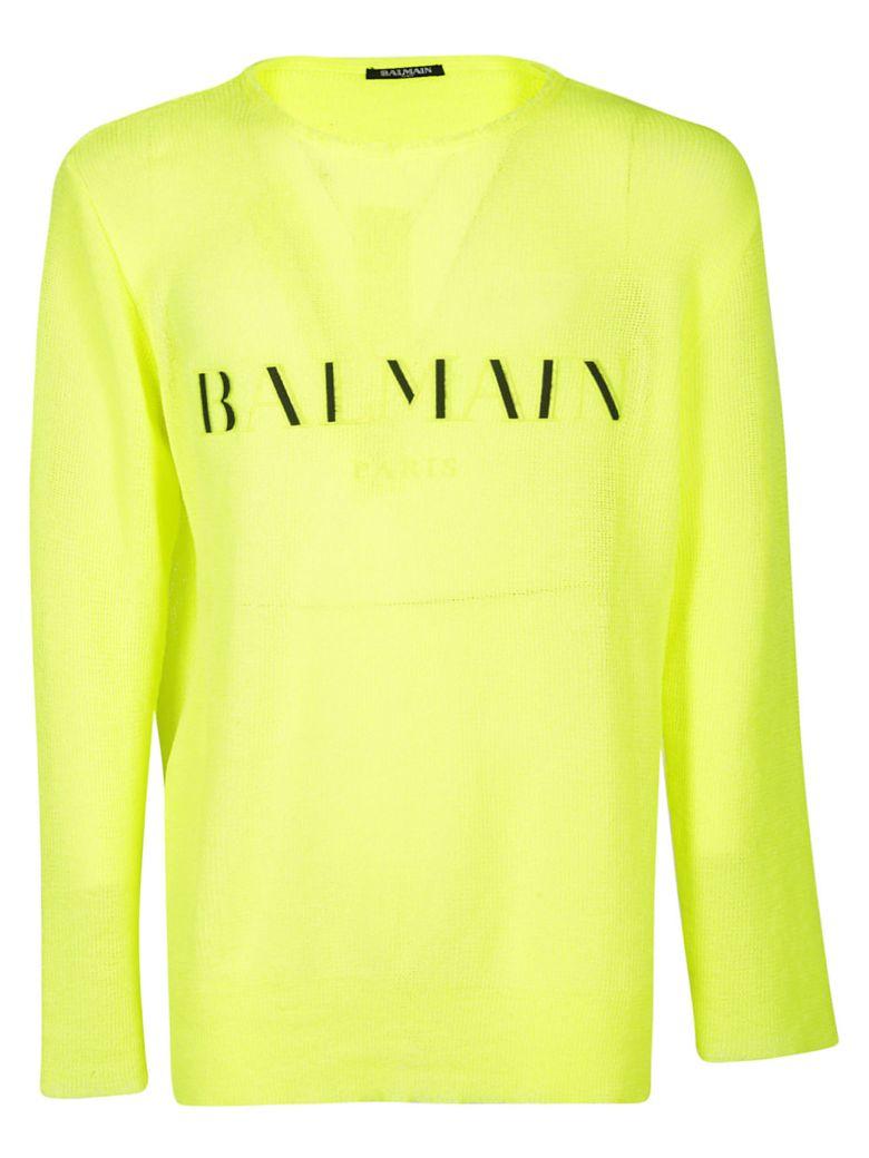 Balmain Logo Embroidered Sweater - YELLOW FLUO