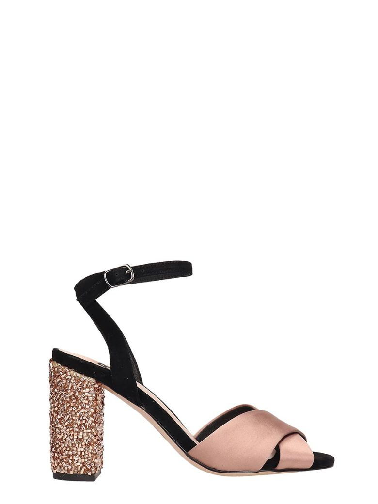 Bibi Lou Champagne Black Satin Sandals - beige