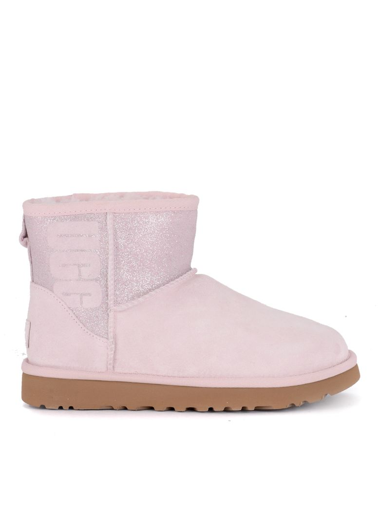 UGG Classic Mini Logo Sparkle Pink Suede And Glitter Ankle Boots - Pink