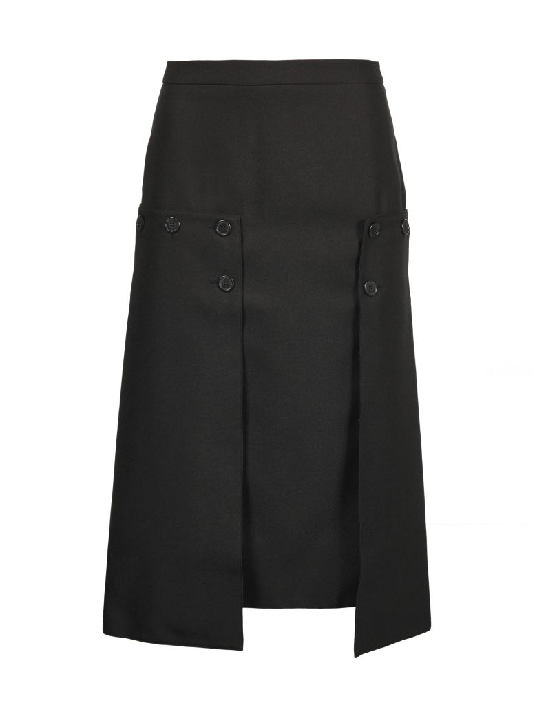 Rokh Pleated Panel Skirt - Nero