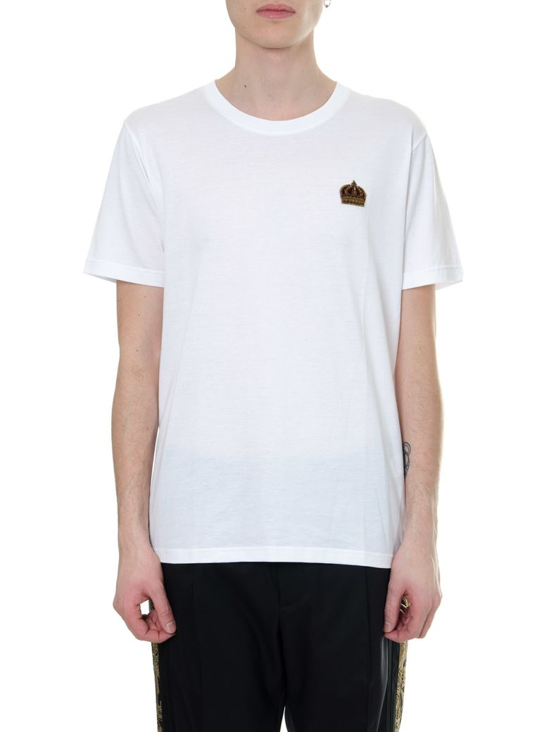 Dolce & Gabbana White Cotton Embroidery Crown   T-shirt - White