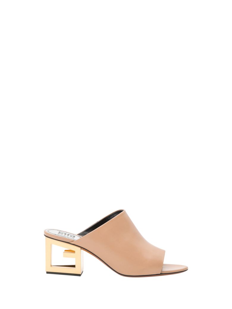 Givenchy Gold G Heel Mules - Beige