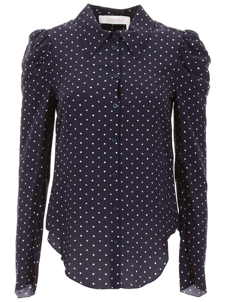 See by Chloé Polka Dots Shirt - MULTI BLUE (Blue)