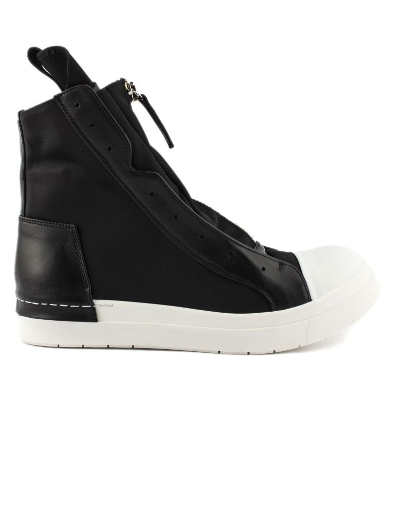 Cinzia Araia High-top Sneaker In Black Leather And Fabric - Nero