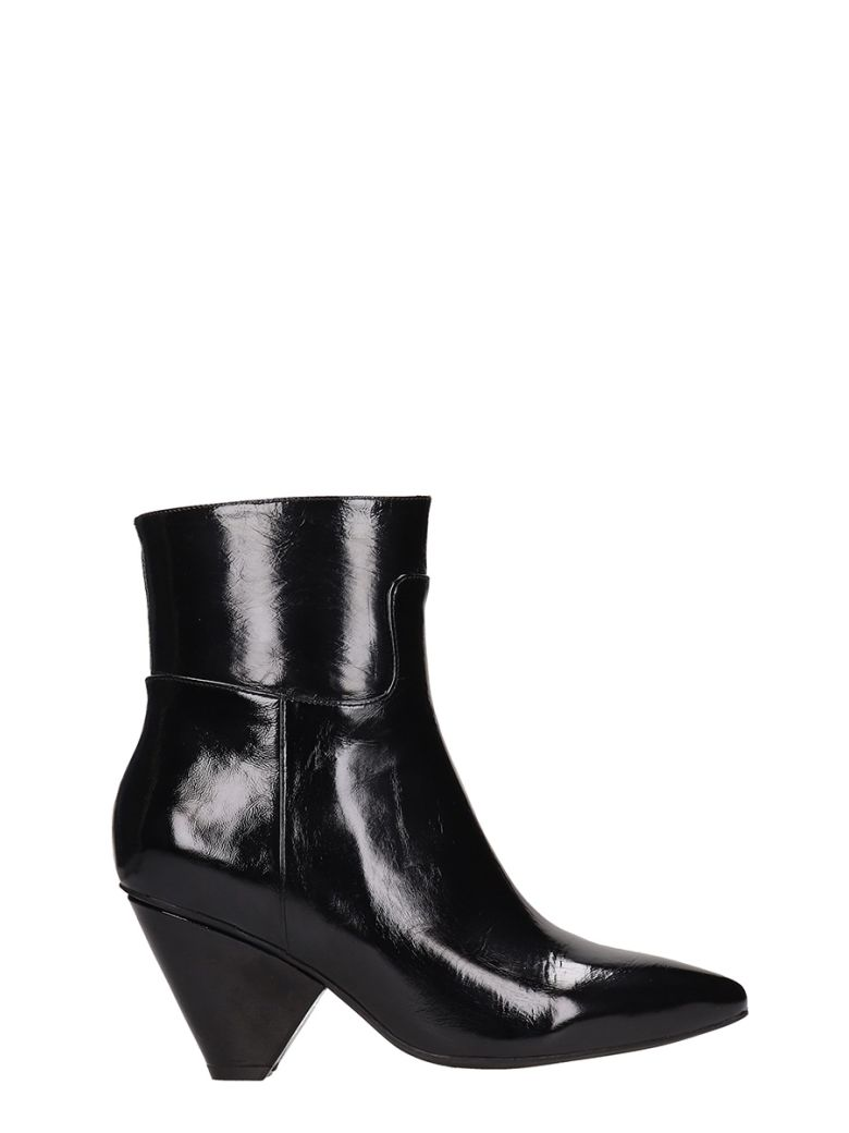Jeffrey Campbell Black Patent Leather Ankle Boots - black