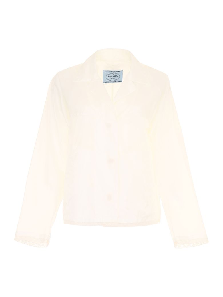 Prada Linea Rossa Nylon And Lace Jacket - BIANCO (White)
