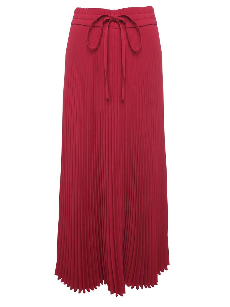 RED Valentino Pleated Jersey Midi Skirt - Rosso