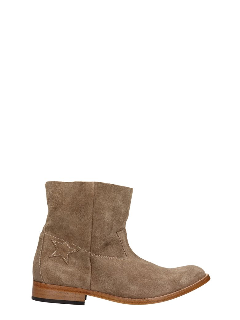 Golden Goose King Taupe Suede Leather Ankle Boots - taupe