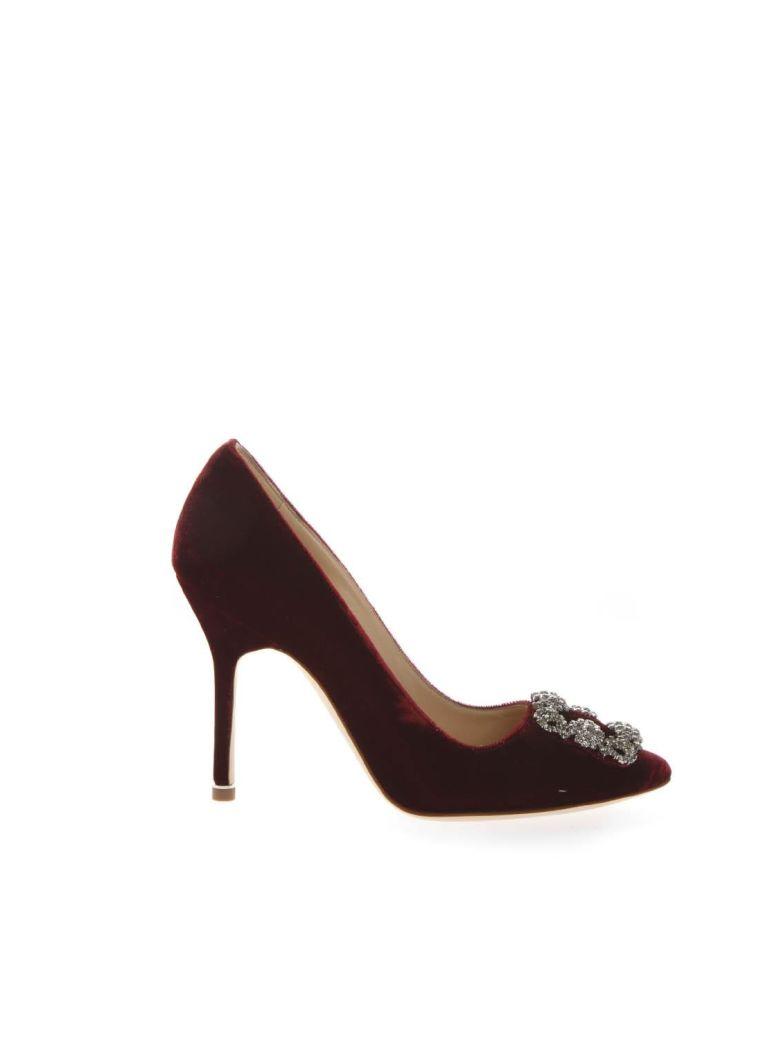 Manolo Blahnik Lanza Red Velvet Pumps - Red