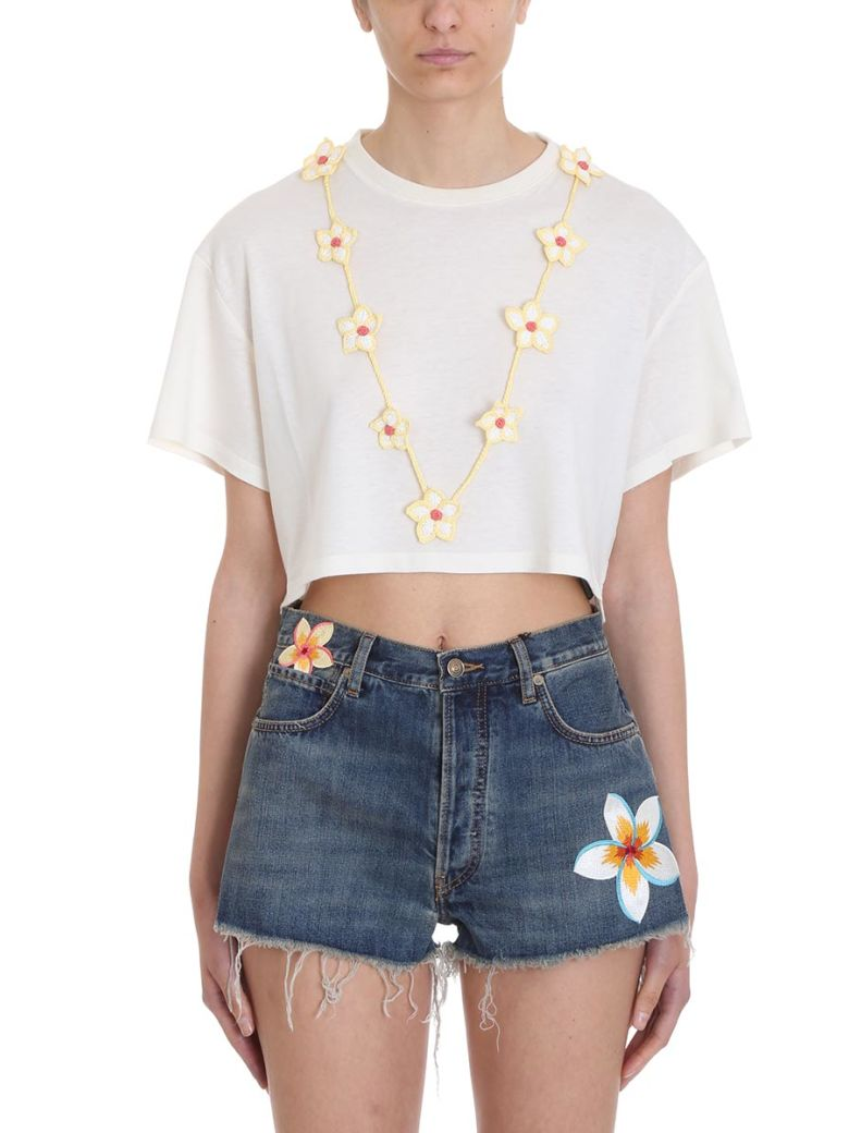 Alanui Floral Necklace T-shirt - beige