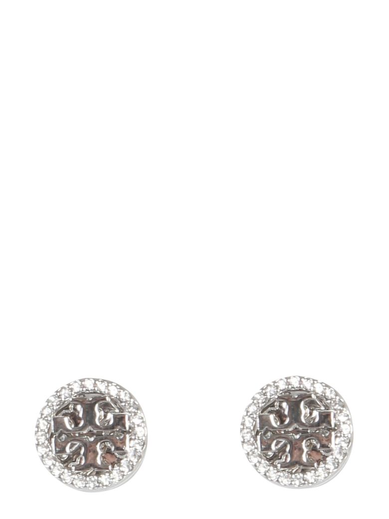 Tory Burch Circle-stud Crystal Logo Earrings - ARGENTO