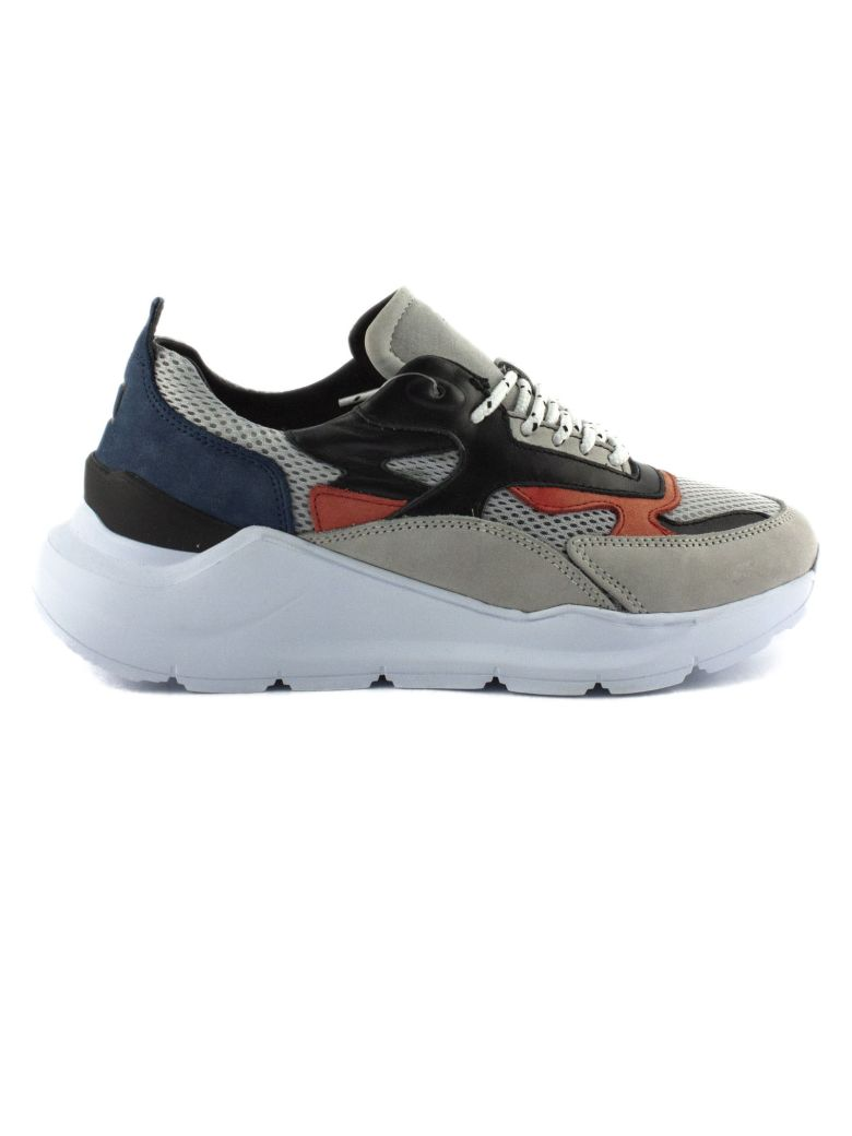 D.A.T.E. Running Sneakers In Grey Nubuck Leather - Grigio+arancio