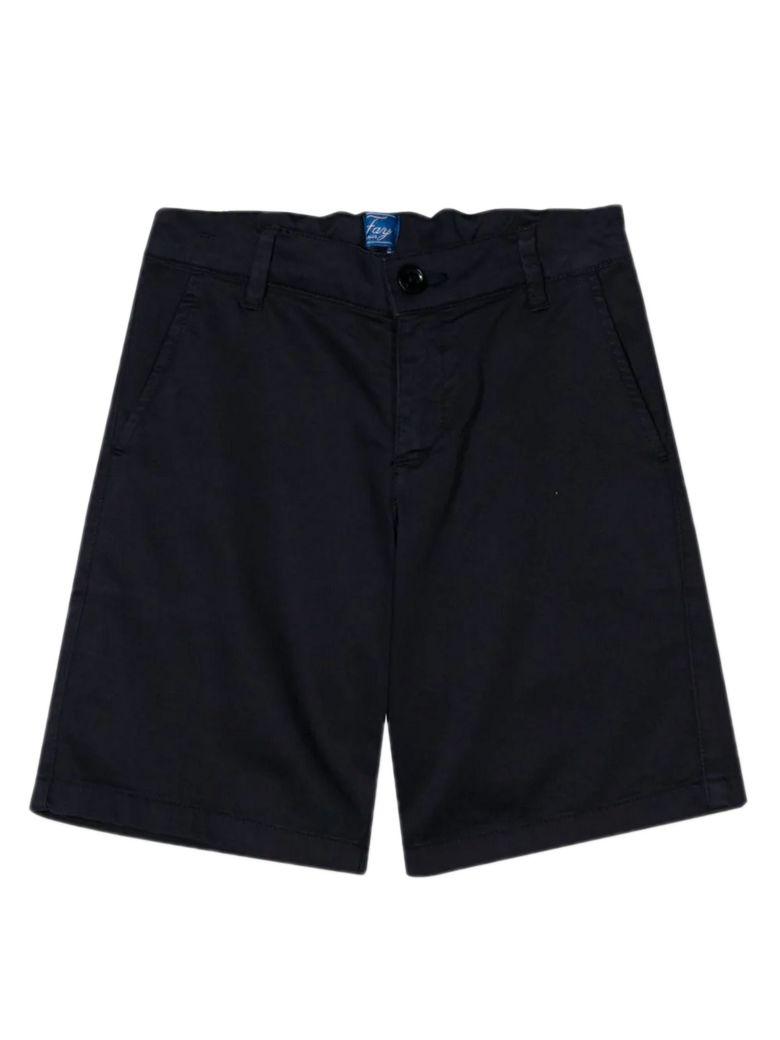 Fay Black Stretch Cotton Shorts - Blu
