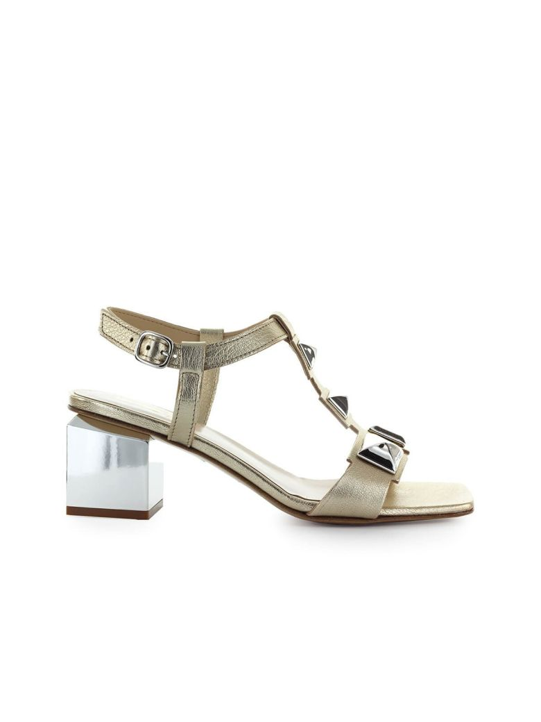 Jeannot Platinum Leather Mid-heeled Sandal - Platino (Platinum)