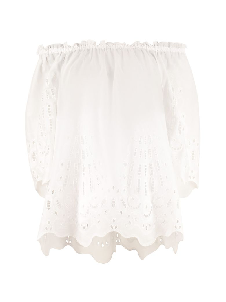 Alberta Ferretti Embroidered Cotton Blouse - White