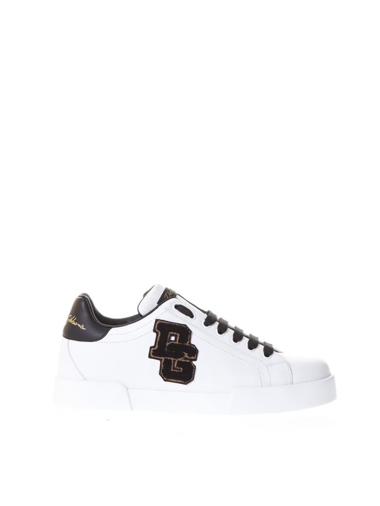 Dolce & Gabbana Leather Sneakers Whit Dg Patch - White