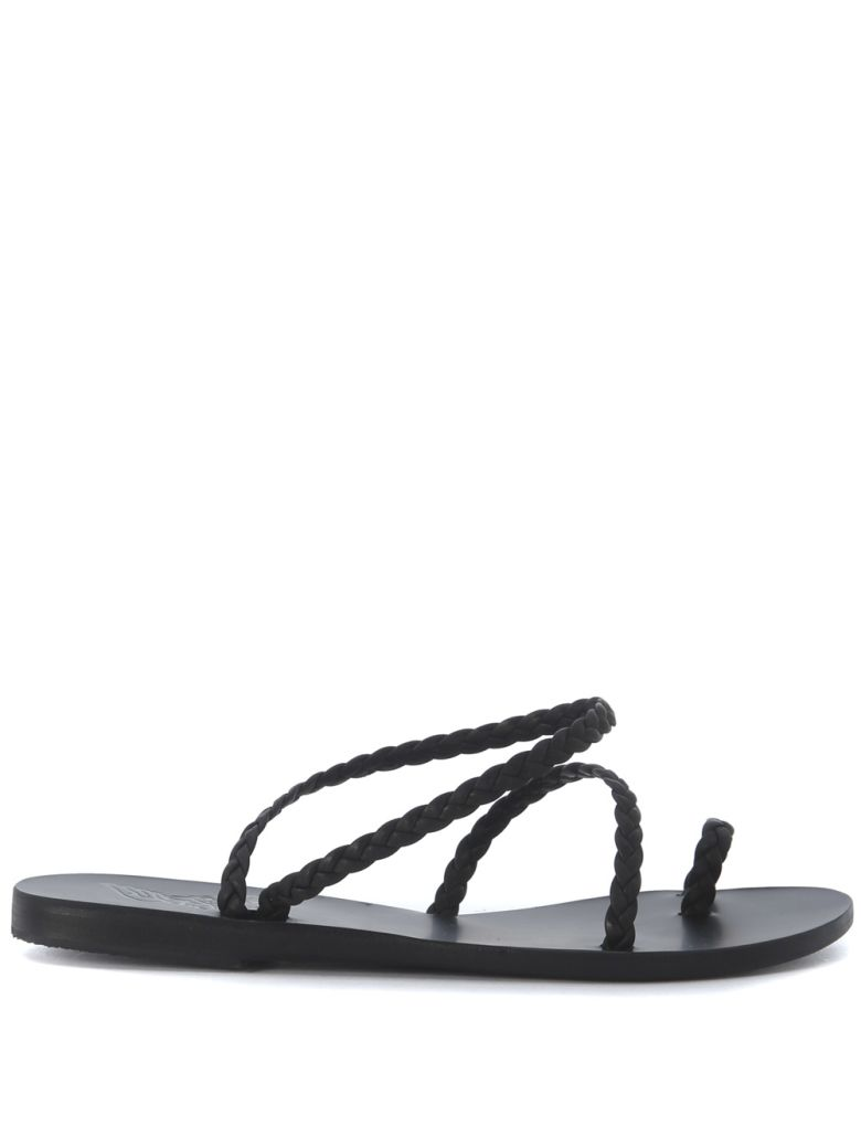 Ancient Greek Sandals Eleftheria Black Woven Leather Sandal - NERO