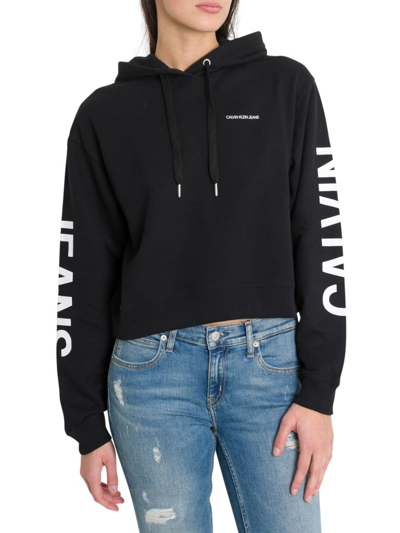 Calvin Klein Jeans Cropped Hoodie With Institutional Logo - Nero