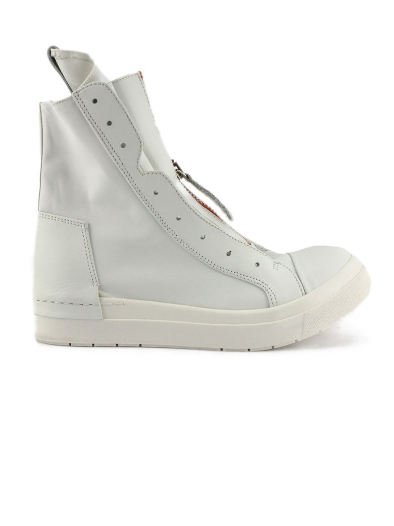 Cinzia Araia High-top Sneaker In White Leather - Bianco+arancio