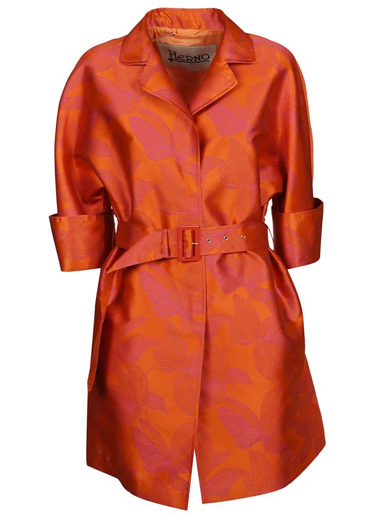 Herno Flower Print Trench - Arancione