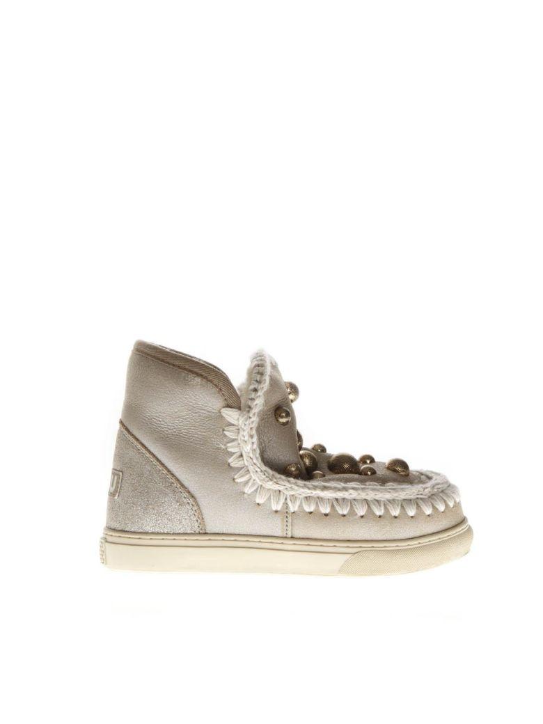 Mou Stone Mink Fur Studs Sneaker Boots - Gray