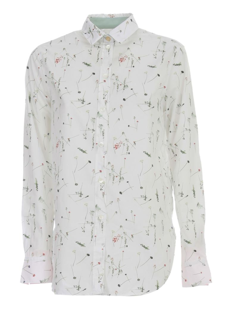 Paul Smith Shirt L/s Rounded Bottom Micro Fantasy - White