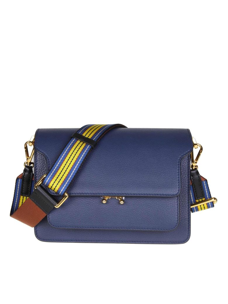 Marni Trunk Bag In Calf Leather - Blue