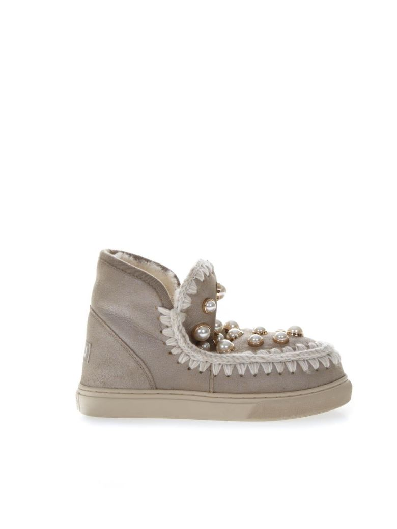 Mou Taupe Leather Sneakers Boots With Pearls - Brown