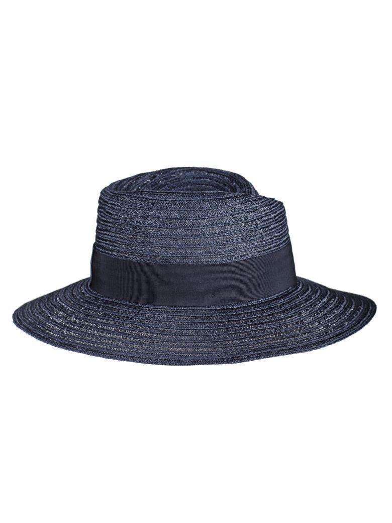 Maison Michel Logo Plaque Panama Hat - Blue
