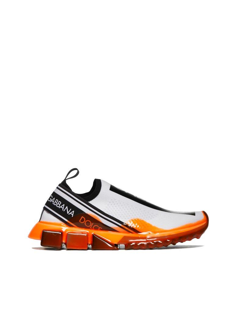 Dolce & Gabbana Stretch Mesh Slip-on Sneakers - Bianco nero arancio fluo