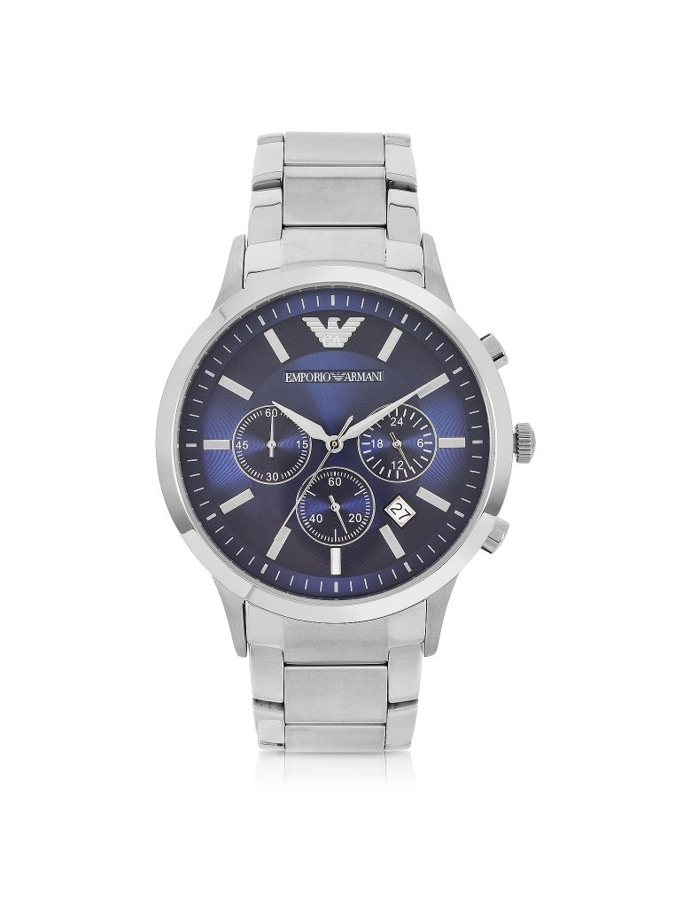 Emporio Armani Men's Blue Dial Stainless Steel Chrono Watch - Silver