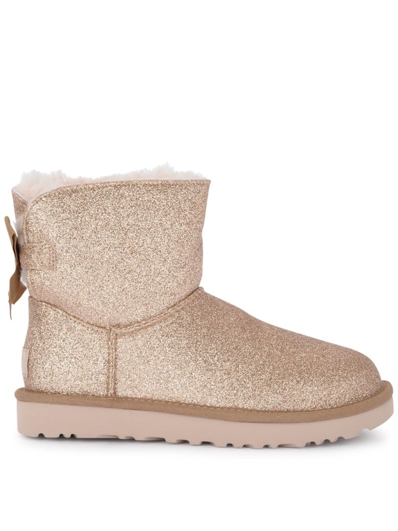 UGG Mini Bailey Bow Sheepskin And Golden Glitter Ankle Boots - Gold