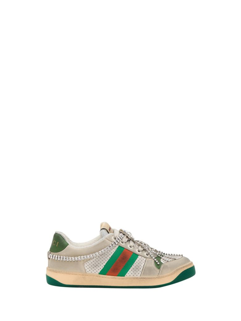 Gucci Screener Sneaker With Crystals - White
