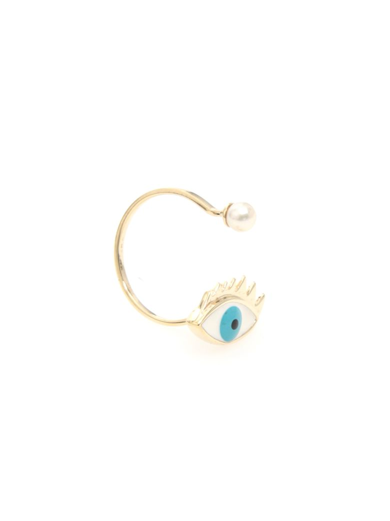 Delfina Delettrez Eye Ring 9kt Gold - LIGHT BLUE (Light blue)