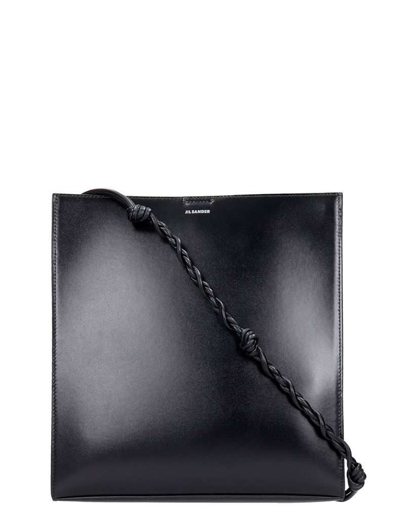 Jil Sander Tangle Md Shoulder Bag In Black Leather - black