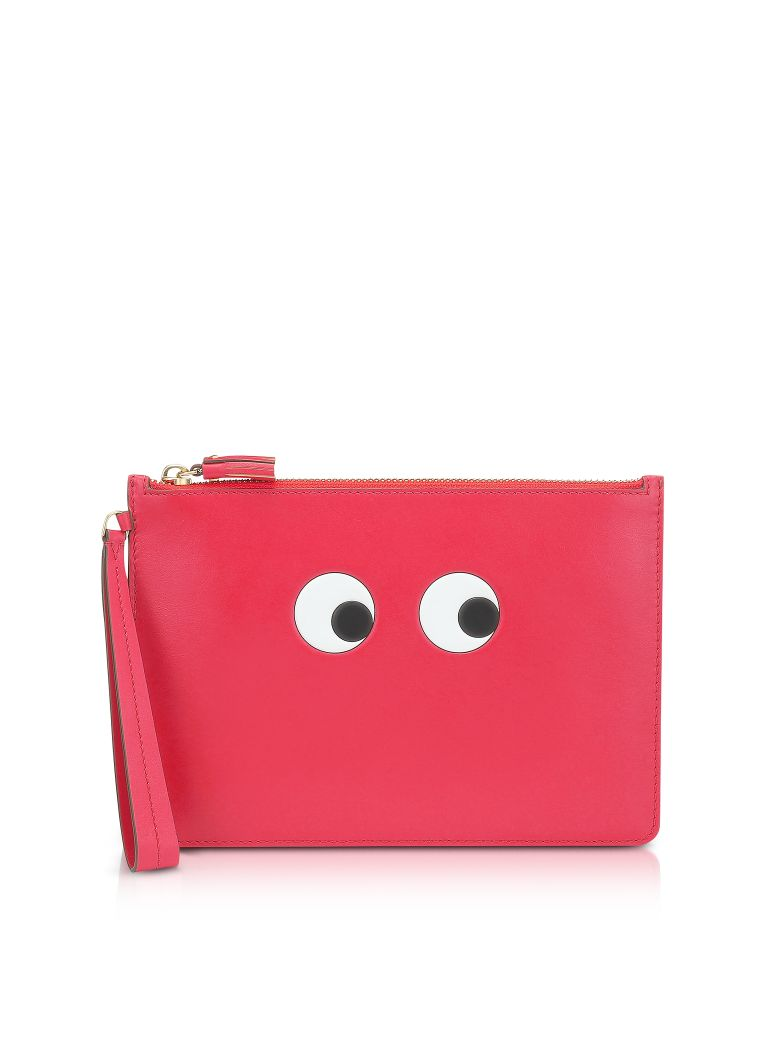 Anya Hindmarch Lollipop Circus Leather Eyes Zip-top Pouch - Red