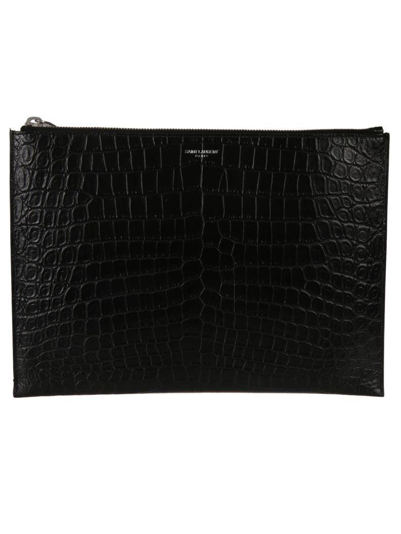 Saint Laurent Leather Tablet Case - Black