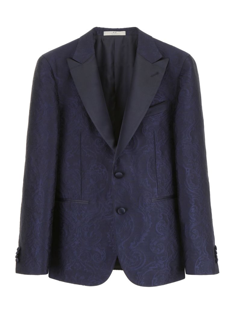 CC Collection Corneliani Brocade Jacket - NAVY BLUE|Blu