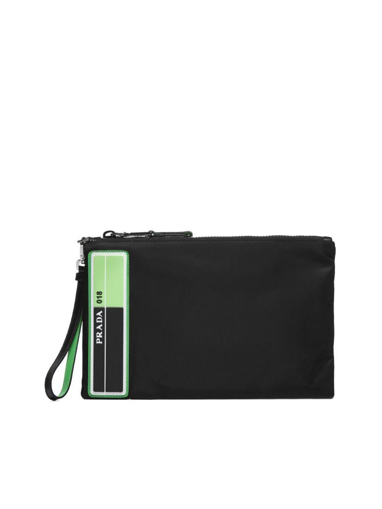 Prada Logo Clutch - Nero verde fluo